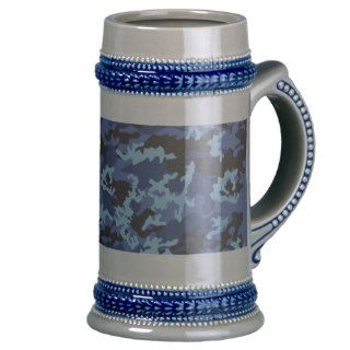 Custom Blue Camo Beer Stein Mugs