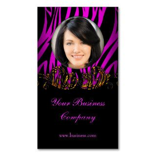 Add Photo Hot Pink Profile Exotic Gold Black Business Cards