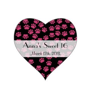 Sweet 16 Dog Paws Traces Paw prints Pink, Black Sticker