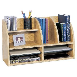Safco Radius Front Desktop Organizer 12 Compartments 15 14 H x 26 W x 9 58 D Medium Oak