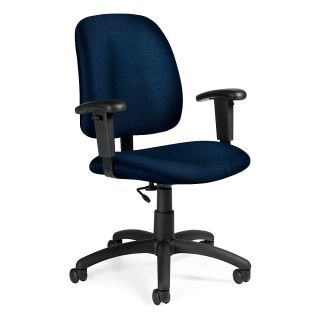 Global Goal Task Chair 39 H x 25 W x 24 12 D Black Frame Blue Fabric