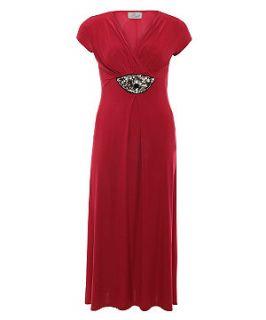 Praslin Red Embellished Front Maxi Dress