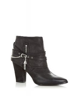 Black Leather Metal Detail Ankle Boots