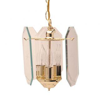 Polished Brass 3 light Clear Glass Pendant Chandeliers & Pendants