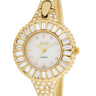 Burgi Women's 'Sizzling' Diamond and Crystal Goldtone Bangle Watch Burgi Women's Burgi Watches