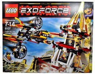 Lego Year 2007 Exo Force Series Battle Scene Set # 8107   FIGHT FOR THE GOLDEN TOWER with Sonic Raven with Moveable Wings, Missile Launcher and 2 Missiles; Golden Gate with Crank that Lower the Gate, Missile Launcher and 1 Missile Plus Hitomi Minifigure (T