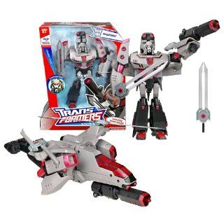 Hasbro Year 2007 Transformers Animated Series Leader Class 9 Inch Tall Robot Action Figure with Electronic Lights and Sounds   Decepticon MEGATRON with Conversion Sounds, Helicopter Blades that Become Swords and Fusion Missile Launcher (Vehicle Mode: Attac