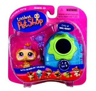 "Hasbro Year 2007 Littlest Pet Shop Portable Pets Exclusive ""Wal Mart"" Series Bobble Head Pet Figure Set #311   Tan Baby Owl with Toy Bear and Cozy Carrier (22979): Toys & Games"