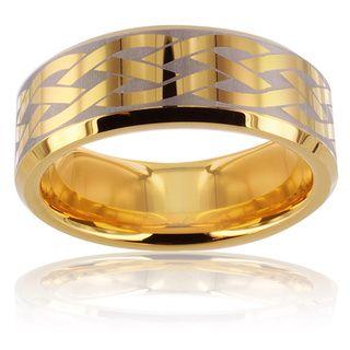 Tungsten Carbide Gold Brushed Laser etched Celtic Design Ring Men's Rings