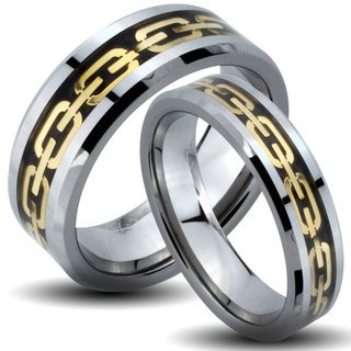 Tungsten Carbide Tri color Goldplated Chain Link His and Her Wedding Band Set Men's Rings