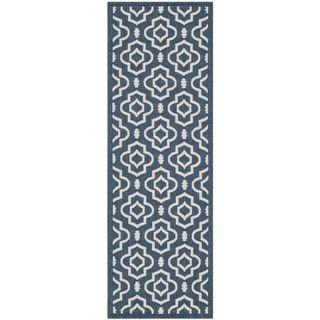 Safavieh Abstract Indoor/Outdoor Courtyard Navy/Beige Rug (2'3 x 10) Safavieh Runner Rugs