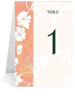 Wedding Table Number Cards   Orange Morning Glory #1 Thru #32: Office Products