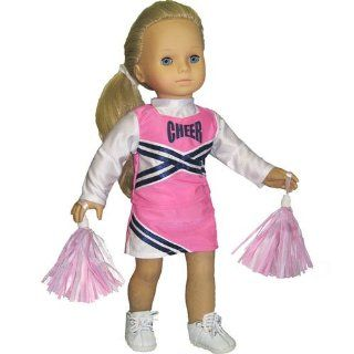 """Doll Cheerleader Outfit, Pink Cheerleader Doll Clothes/Clothing, Fits 18"""" American Girl Dolls Toys & Games"""
