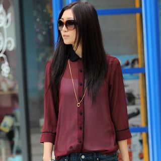 Contrast Collar Chiffon Shirt, Wine Red , One Size   SO Central