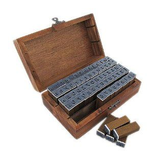 Gem 3.8*1.2*0.9cm 70pcs Rubber Stamps Set Vintage Wooden Box Case Alphabet Letters Number Craft: Arts, Crafts & Sewing