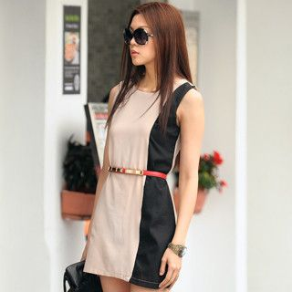 Color Block Sleeveless Shirt Dress (Belt not Included), Beige and Black , One Size   SO Central