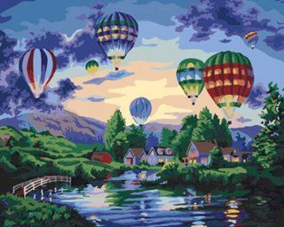"AutoLive Paint By Numbers Kits, Paint By Number Kits, 16""x20"", Balloon Glow, Hot Air Balloons Paint By Numbers Kits Masterpieces: Arts, Crafts & Sewing"
