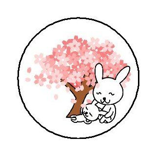 "Mother & Daughter Bunny Rabbits under Cherry Blossom Tree 1.25"" Pinback Button Badge / Pin   Cute Mommy & Me"