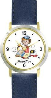 Girl Reading from Bible (Tanach) Judaica Jewish Theme   WATCHBUDDY� DELUXE TWO TONE THEME WATCH   Arabic Numbers   Blue Leather Strap Size Large ( Men's Size or Jumbo Women's Size ): WatchBuddy: Watches