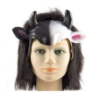 HMS Anime Cow Headpiece Latex Front with Full Plush, Black, One Size: Clothing