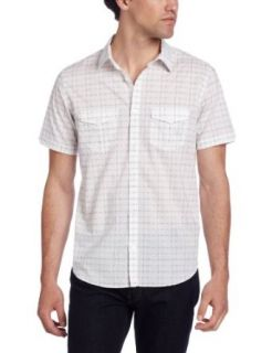 Calvin Klein Sportswear Men's Short Sleeve Distorted Plaid Shirt,White,X Small: Clothing
