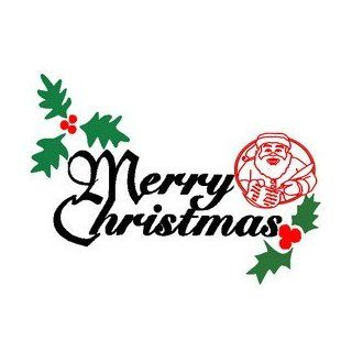 Christmas text with santa claus, Christmas Decoration   30cm Height, Width Auto   Automotive Decals