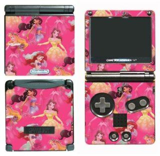 Princess Friends Cinderella Belle Jasmine Mulan Sleeping Beauty Ariel Cartoon Girls Kids Children Cartoon Movie Gift Video Game Vinyl Decal Cover Skin Protector for Nintendo GBA SP Gameboy Advance Game Boy: Video Games