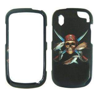 Pantech Hotshot 8992   Verizon Pirate Skull Swords and Fish on Black Shinny Gloss Finish Hard Plastic Cover, Case, Easy Snap On, Faceplate.: Cell Phones & Accessories
