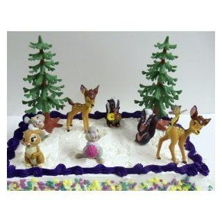 Disney Bambi 9 Piece Birthday Cake Topper Featuring 7 Bambi Figures Including Bambi, Bambi Discovering A Butterfly, Thumper, Flower, Thumper Holding a Berry, Flower Holding Flowers, Thumpers Girlfriend and 2 Pine Trees Toys & Games