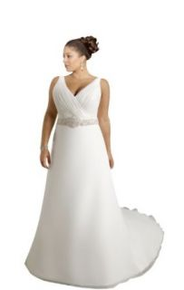 Biggoldapple A Line V neck Chapel Train Sleeveless Wedding Dress 1262x: Clothing
