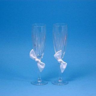 Beverly Clark Collection Love Knot 24 percent Lead Crystal Toasting Flutes, White, Set of 2: Kitchen & Dining
