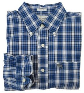 Abercrombie Men's Plaid Button Down Shirt (Medium, White/Navy) at  Men�s Clothing store