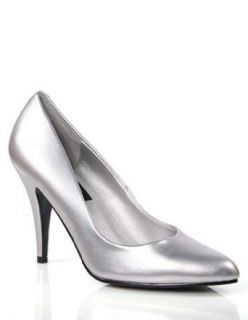 Sexy Silver 4 Inch High Heel Classic Pump   7: Clothing