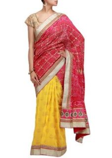 A half half bandhani saree in pink and yellow with sequence border: Clothing