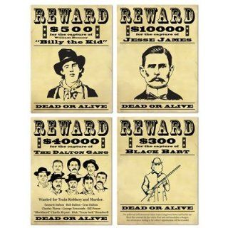 Western Wanted Posters Billy The Kid, Jesse James, The Dalton Gang & Black Bart: Everything Else