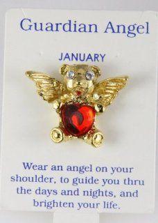 6030306 Teddy Bear Guardian Angel Lapel Pin Birthstone CZ Cubic Zirconia Brooch: Jewelry