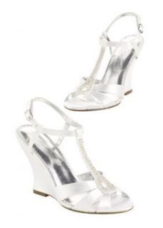 Wedding & Bridesmaid Shoes Dyeable high heel wedge sandal with beaded T strap: Shoes