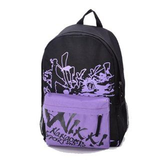 Canvas Doodle Travel Backpack Female Purple: Everything Else