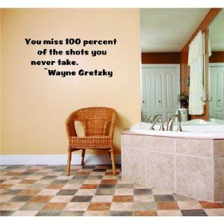 Newclew YOU MISS 100% OF SHOTS WAYNE GRETZKY QUOTE removable Vinyl Wall Quote Decal Home D�cor Large   Wall Decor Stickers