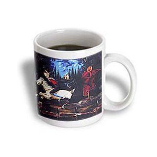 3dRose Ichabod Crane and Headless Horseman Art Painting 1855 Ceramic Mug, 11 Ounce: Kitchen & Dining