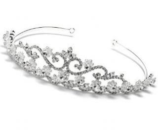USABride Princess Pearl & Rhinestone Bridal Wedding Crown Tiara 107: Clothing