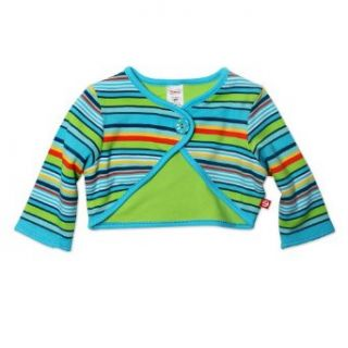 Zutano Baby girls Infant Multi Stripe Shrug, Pool, 12 Months: Clothing