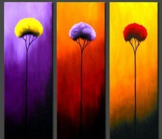 3 Pics Tree of Life Modern Art 100% Hand Painted Oil Painting on Canvas Wall Art Deco Home Decoration (Unstretch No Frame)