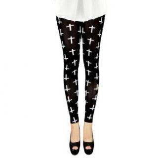 LOCOMO Women Black White Cross Print Pattern Legging FFT117