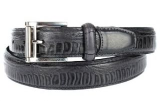 Stacy Adams 6 124 Genuine Ostrich Leg Leather with Croco Loop Mens Belt, Nickel Brushed Buckle (32, Blue): Clothing