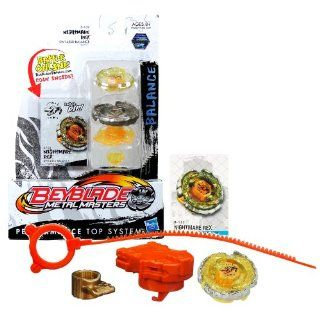Hasbro Year 2011 Beyblade Metal Masters High Performance Battle Tops   Balance SW145SD B 132 NIGHTMARE REX with Face Bolt, Rex Energy Ring, Nightmare Fusion Wheel, SW145 Spin Track, SD Performance Tip and Ripcord Launcher Plus Online Code: Toys & Games