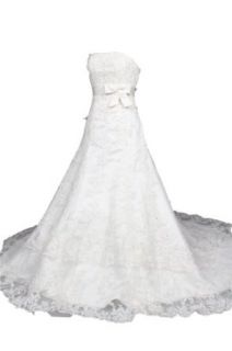 Winey Bridal Strapless A line Tulle White Beading Bow Sequins Wedding Dresses: Clothing
