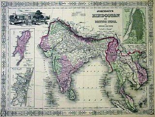 Johnson 1864 Antique Map of British India, Birmah (Burma), Siam (Cambodia), Laos, Anam (Vietnam): Office Products