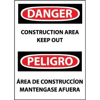 "NMC ESD132PB Bilingual OSHA Sign, Legend ""DANGER   CONSTRUCTION AREA KEEP OUT"", 10"" Length x 14"" Height, Pressure Sensitive Vinyl, Black/Red on White: Industrial & Scientific"