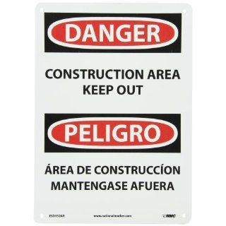 "NMC ESD132AB Bilingual OSHA Sign, Legend ""DANGER   CONSTRUCTION AREA KEEP OUT"", 10"" Length x 14"" Height, 0.040 Aluminum, Black/Red on White: Industrial & Scientific"